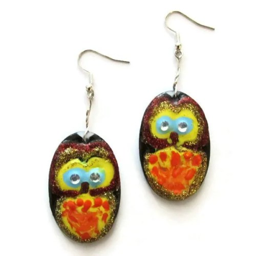 Hand Painted Owl Design Earrings