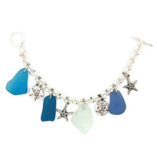 Pewter Seaglass Charm Bracelet