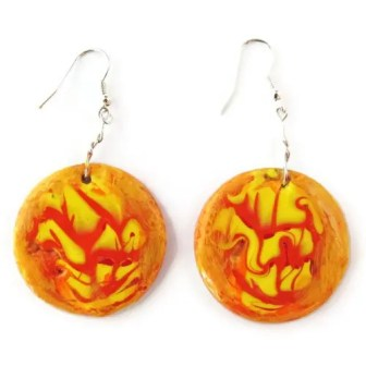 Round orange and yellow earrings