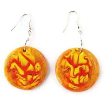 Round orange and yellow earrings
