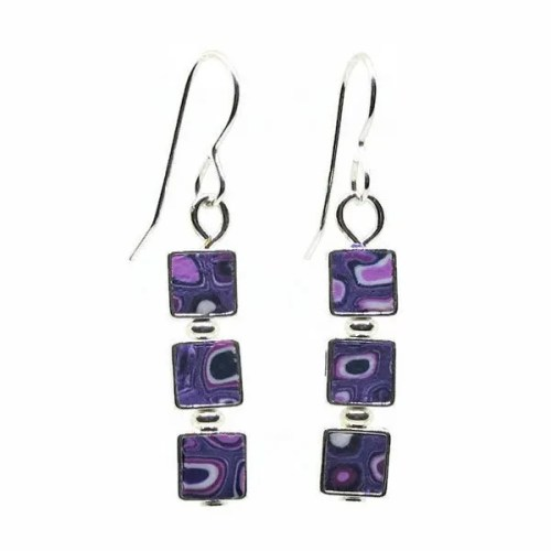 3 Square Mosaic Earrings