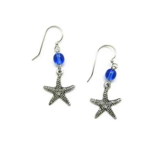 Starfish Blue Bead Earrings
