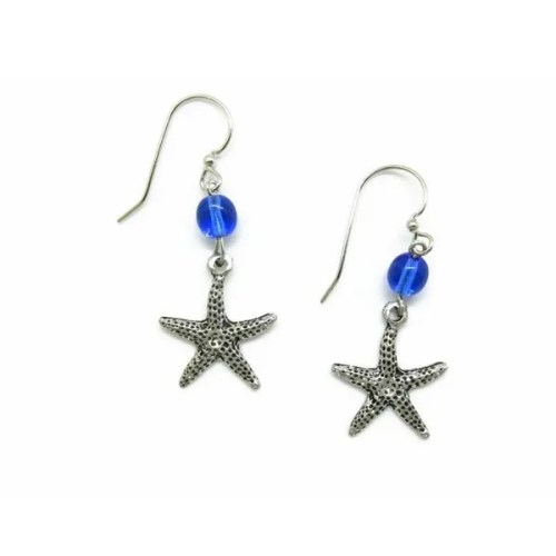 Starfish Blue Bead Earrings
