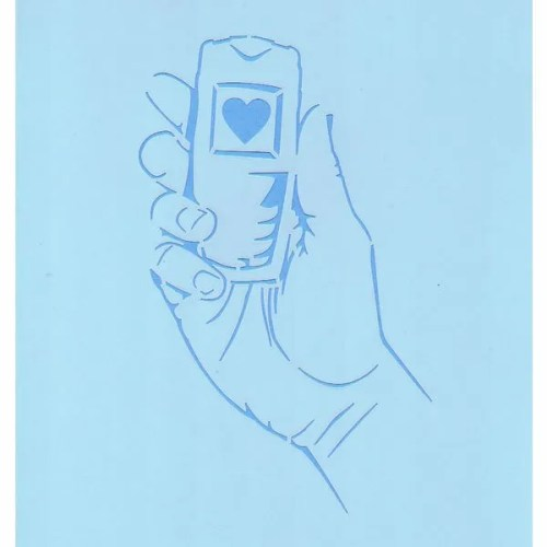 Hand Held Cell Phone Stencil