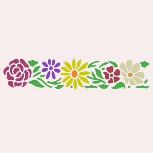 Pretty Flowers Border Stencil