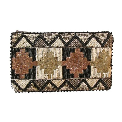Metallic Totem Design Beaded Bag