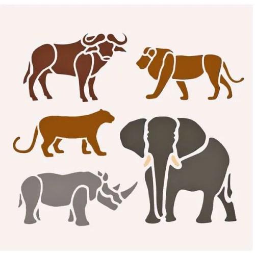 Big Five African Animal Stencil