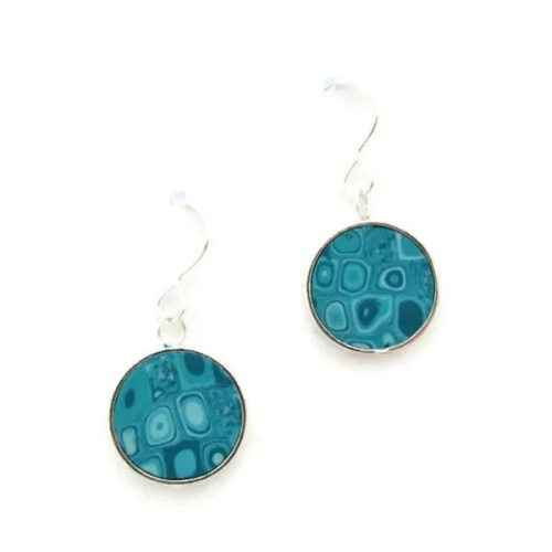 Circle Aqua Mosaic Earrings