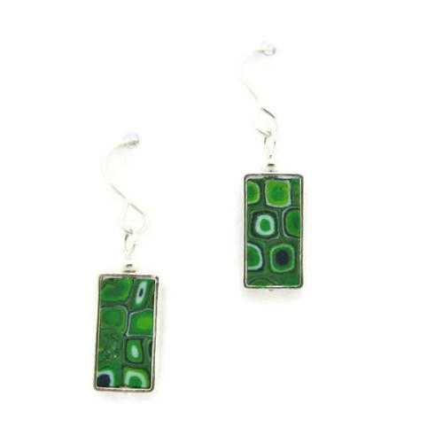 Rectangular Emerald Mosaic Earrings