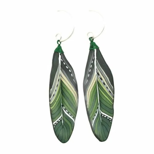 Green Mini Feather Earrings