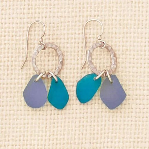 Circle Blue Seaglass Earrings