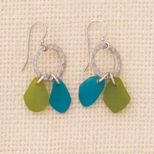 Green Seaglass Earrings
