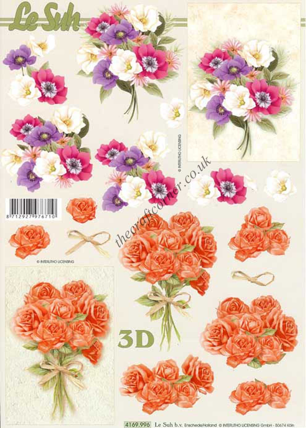 Flower Bouquet 3d Decoupage Sheet From Le Suh