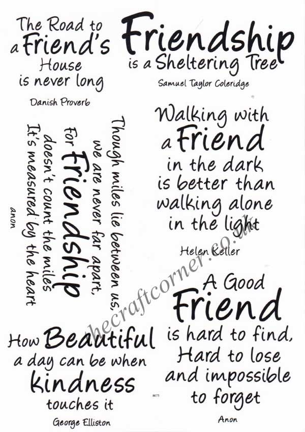 Friendship Sentiments 6 Clear Rubber Stamps By Card Io