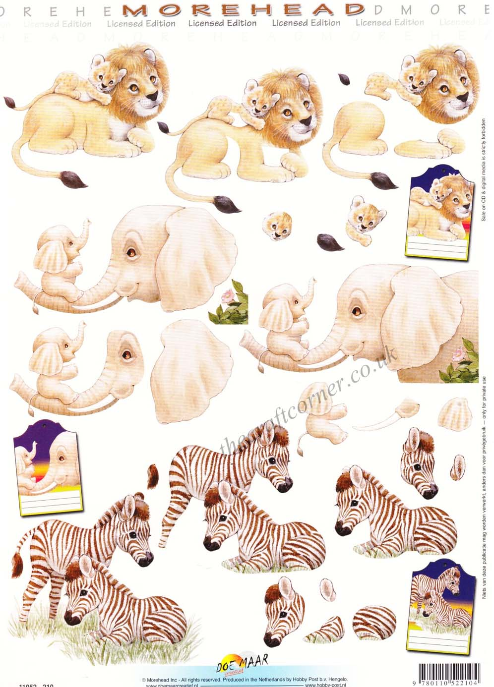 Morehead Wild Animals Lion Elephant Amp Zebra 3D Decoupage Sheet