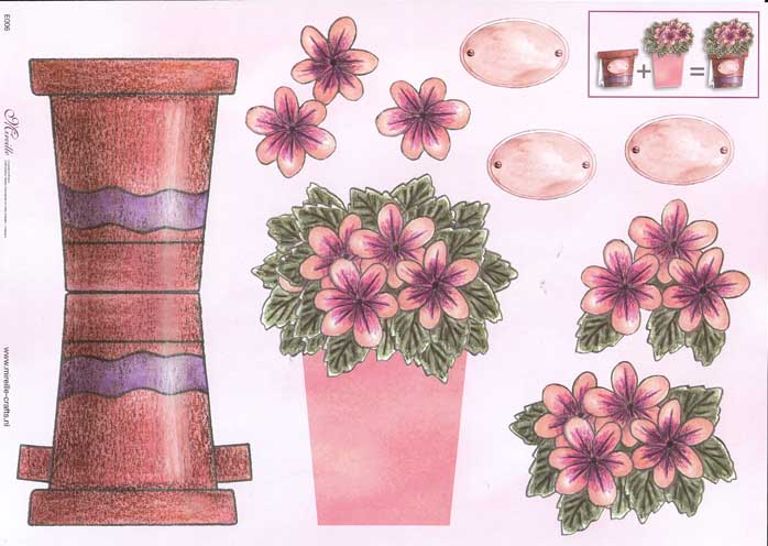Pink Flowers Stand Up 3d Decoupage Sheet
