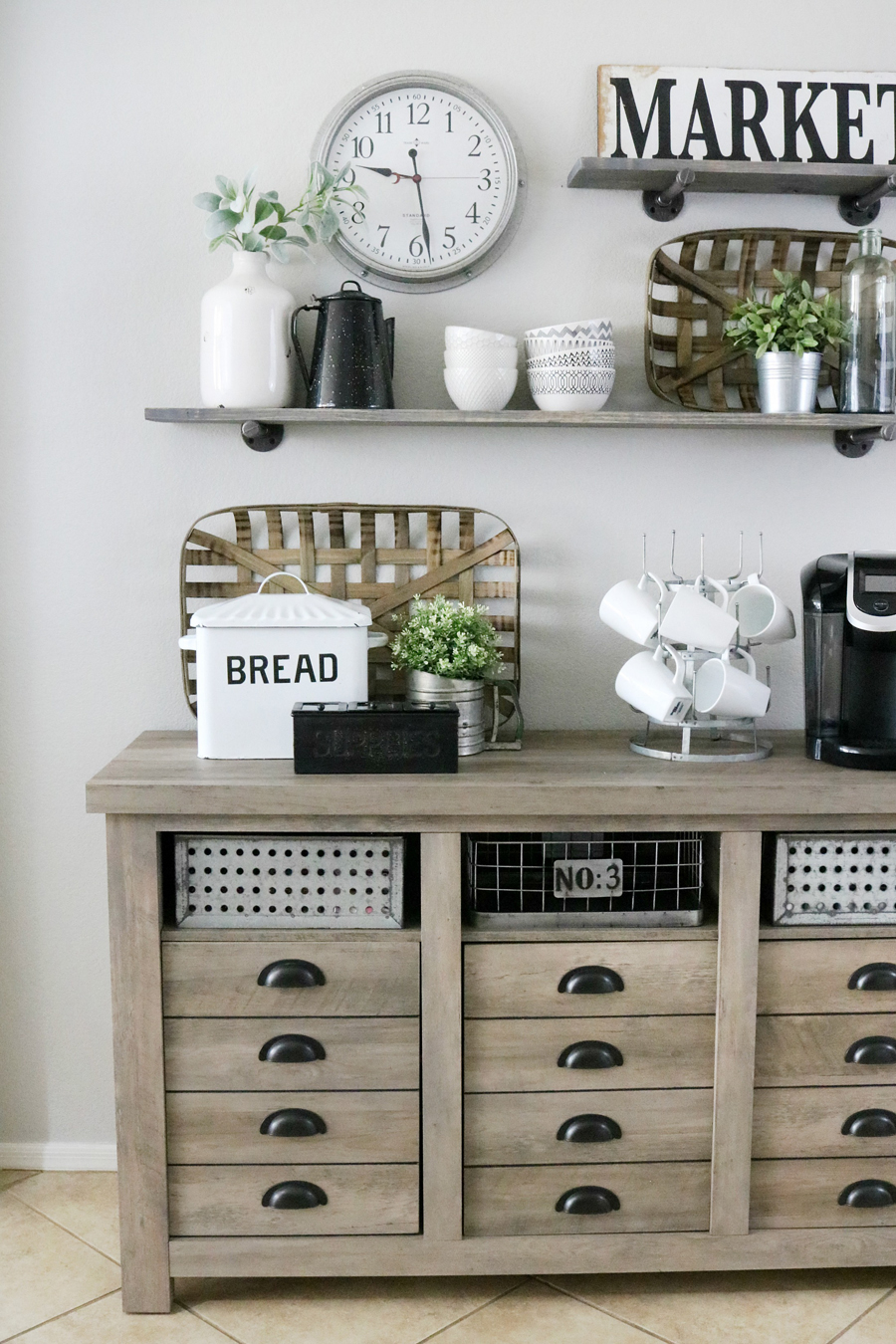 Modern Farmhouse Inspired Coffee Bar Station - The Crafted ... on Farmhouse Dining Room Curtains  id=56729