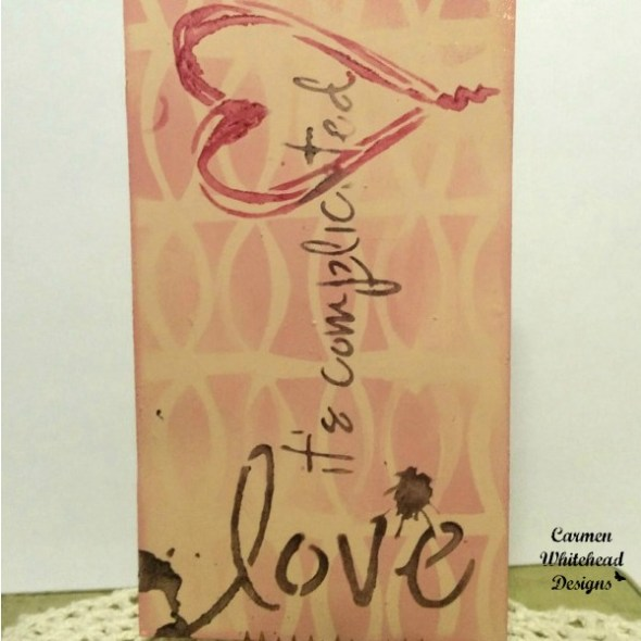 Love it's Complicated mixed media Valentine's Tag for The Crafter's Workshop created by www.carmenwhitehead.com