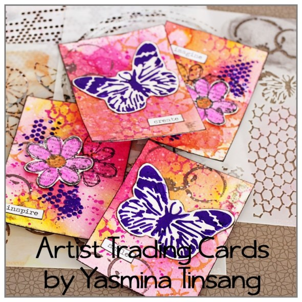 Yasmina Tinsang ATC with TCW stencils and Modeling Paste