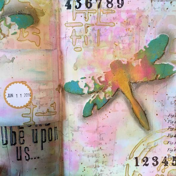Art journal spread using Screen Print stencil.