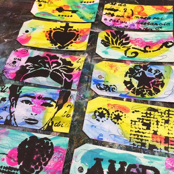 Black gesso stencil application