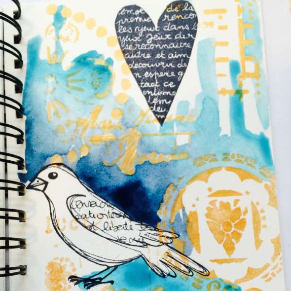 ART BY MARLENE, combining TCW stencils and stamps