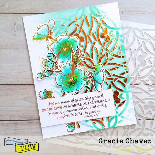 Shadow Stenciling with Deco Foil and TCW Stencils by Gracie Chavez