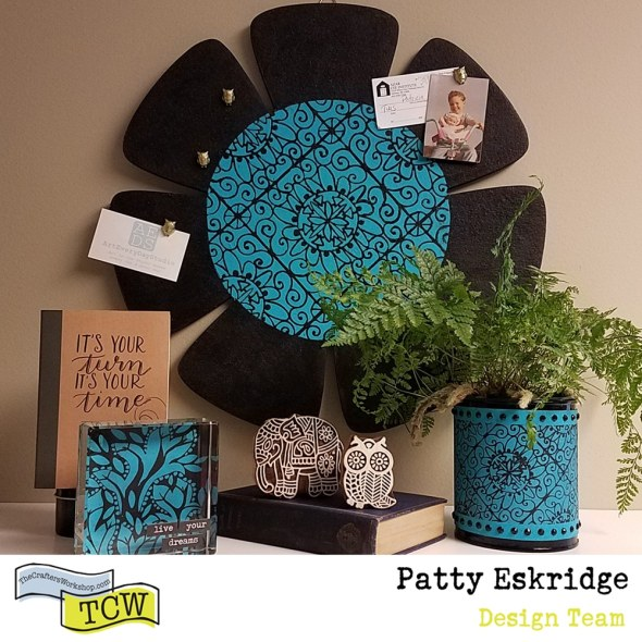 Patty_Eskridge_Artful_Accessories_for_The_Crafter's_Workshop. Featured image showing the cork board, paperweight, and plant holder.