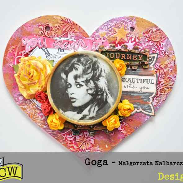 Mixed media heart in vintage style