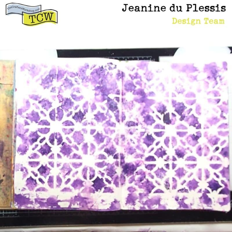 Photo of activated purple color burst powders through the gorgeous stencil pattern TCW855 - Linked Tiles.  #colorburst #pattern #losecolor #background