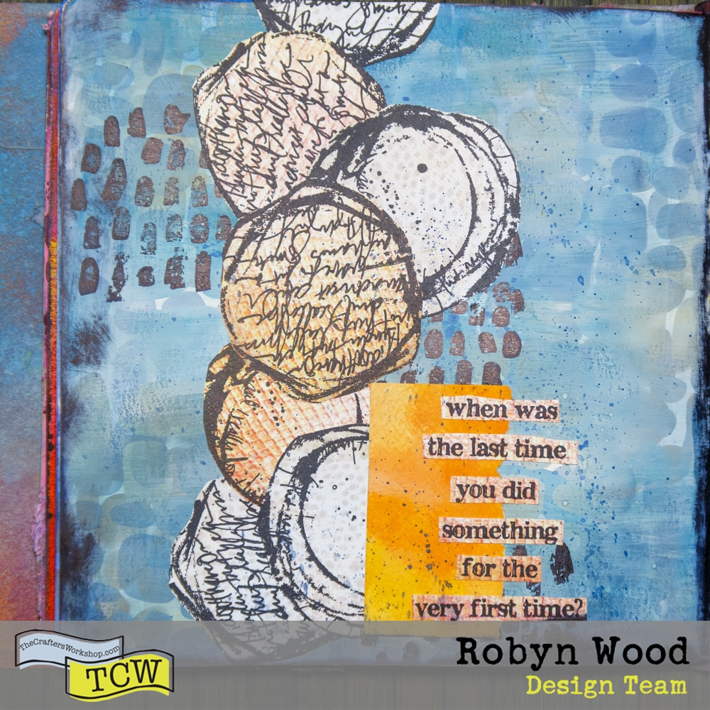 The Crafter's Workshop blog post - Colour layering in an art journal - a stencilled journal page by Robyn Wood