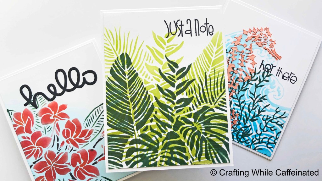 three handmade cards all following the exact same sketch!