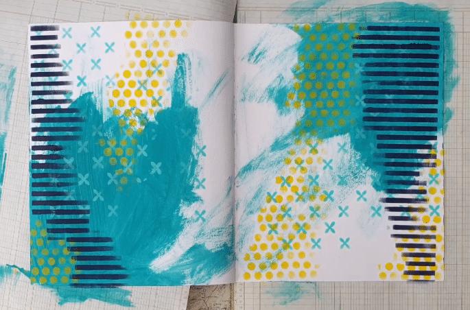 Showing stencils TCW922 ethereal & TCW886 shape landscape