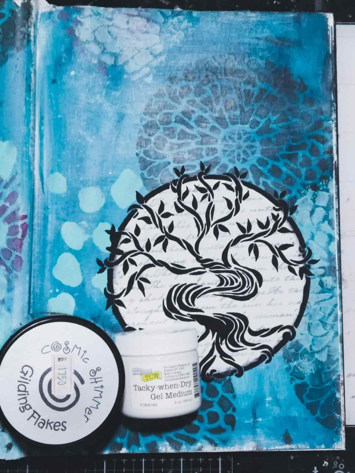 Art journal spread, gilding flakes application.