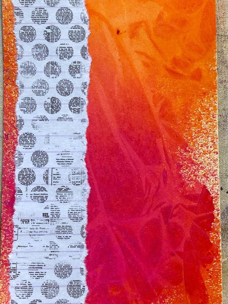 Cling wrap background with spray inks