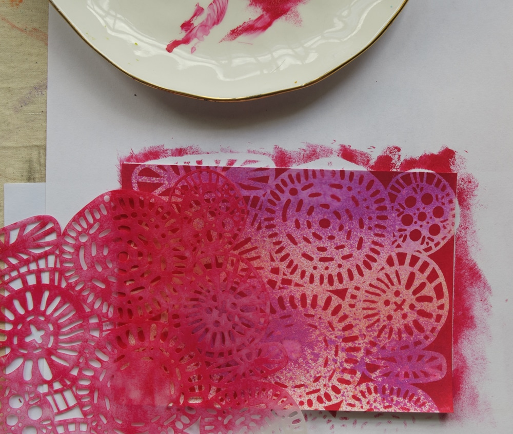 Stenciling with TCW883 Circle Jumble and acrylic paint