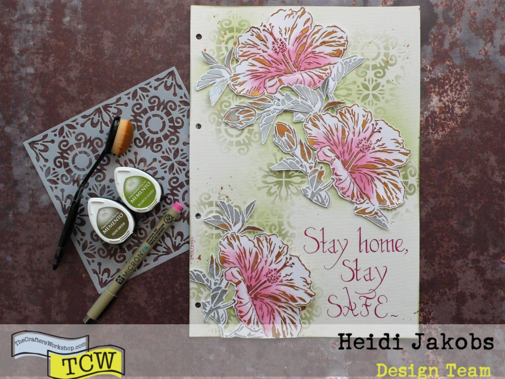 Step by step tutorial on how to create a flowery art journal page using stencils