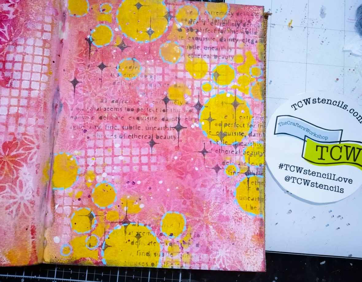 Art journal background stenciling with acrylic paints and TCWstencils