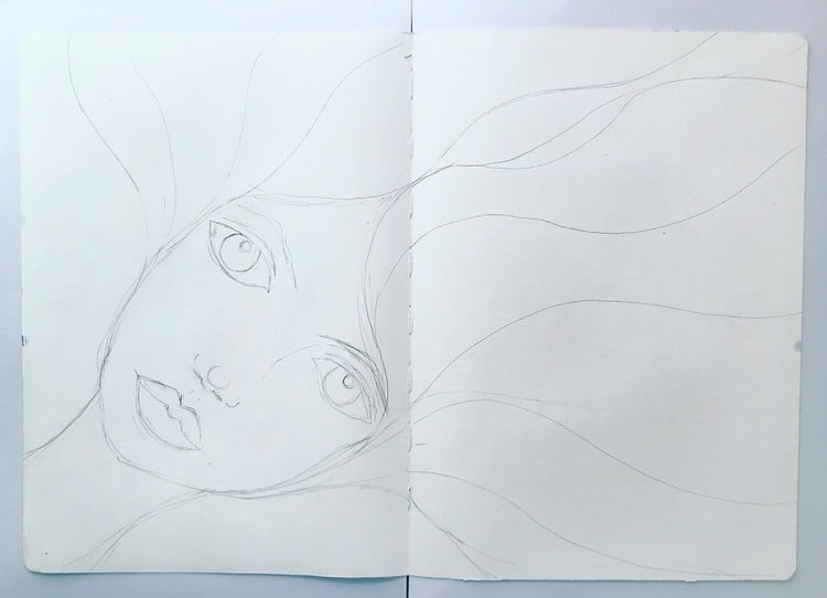 sketched image of a girls face with flowing hair