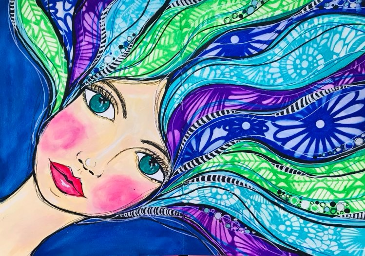 Art Journal page girl with flowing hair with textures created using The Crafters Workshop stencils blue, green, aqua, purple Tammy Klingner #tcwstencillove
