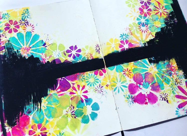 Black paint over colorful flowers. Art Journal