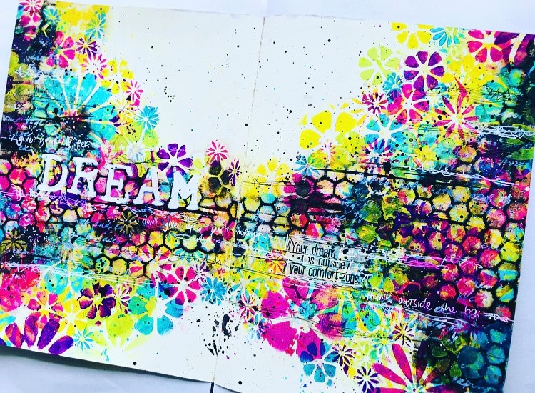 Colorful art journal page with flowers and honeycomb pattern. Tammy Klingner #TCWstencillove