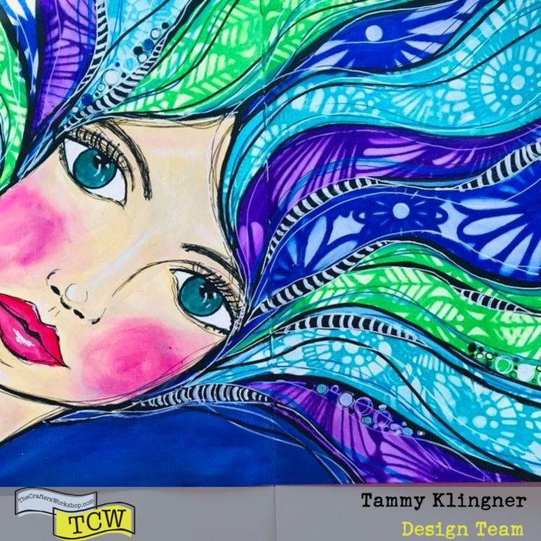 Art Journal image of a girl with flowing hair in greens, blues and purples.  Tammy Klingner #tcwstencillove