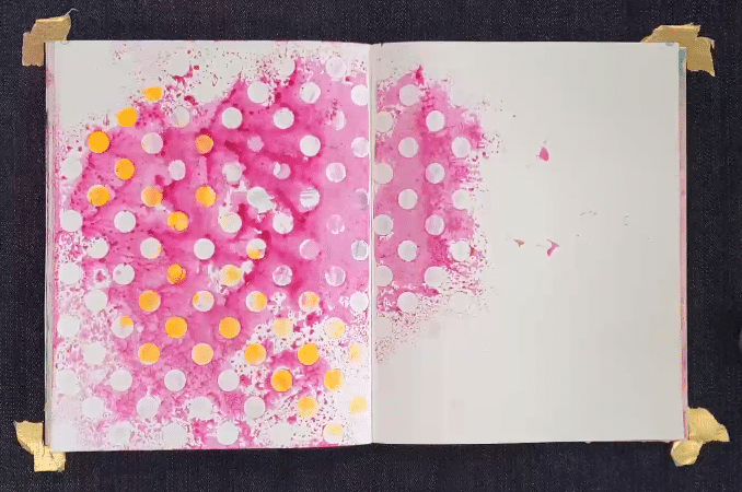 beginning of the journal page showing TCW246 both spray & print and stenciled through at the same time