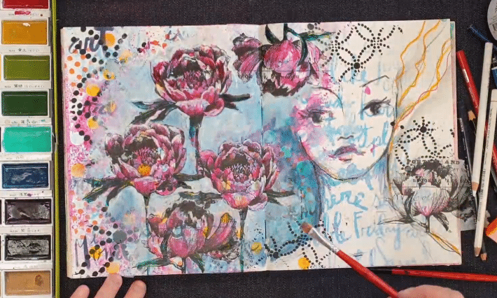 journal page showing background lightening behind the collaged flowers