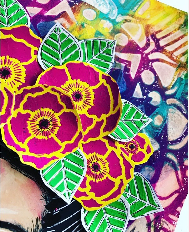 pink and yellow poppies #tcwstencillove