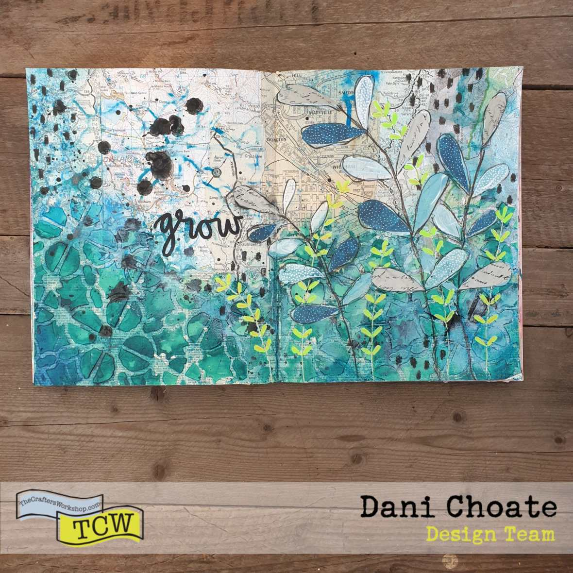 Dani-Choate-Art-Journal-page-mixed-media-using-TCW855-Linked-Tiles- with-green-fronds-and coloured-modeling-paste - GROW-close-up