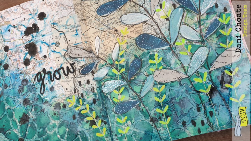Dani-Choate-Art-Journal-page-mixed-media-using-TCW855-Linked-Tiles- with-green-fronds-and coloured-modeling-paste - full-page