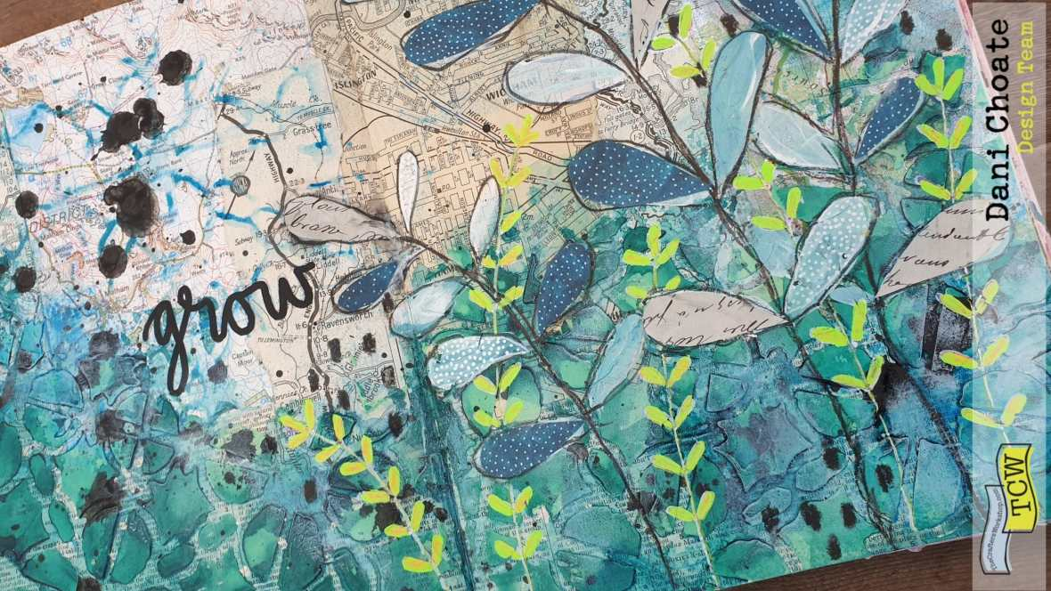 Dani-Choate-Art-Journal-page-mixed-media-using-TCW855-Linked-Tiles- with-green-fronds-and-coloured-modeling-paste-full-page