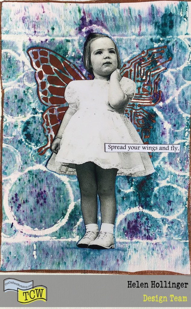 Finished postcard with image of little girl and sentiment